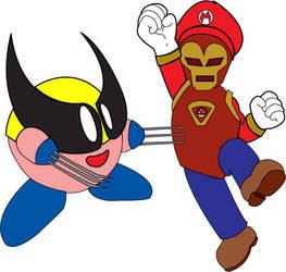 Kirbyrine vs. Iron Mario by sparkchan