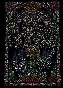 Zelda and Link stained glass window by Jopzeut