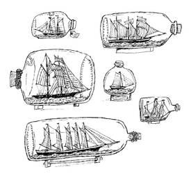 Illustration Flash Sheet: Ships In bottles by Hebbybobdige