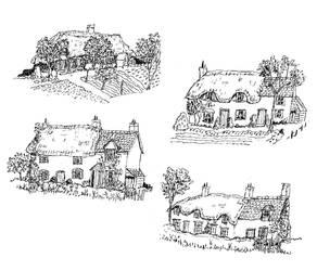Random Illustration Flash Sheet Vll: Cottages by Hebbybobdige
