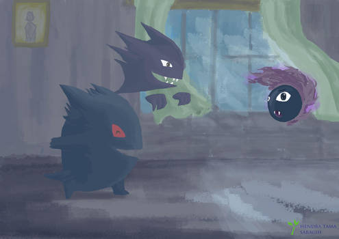 Pokemon : Gastly and friend by hendratamas