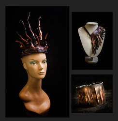 Dark Beauty leather art jewelry set by julishland