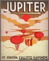 Retro Sci-Fi Jupiter Travel Poster by IndelibleInkWorkshop