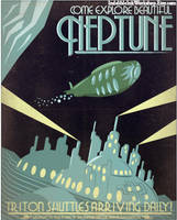 Retro Sci-fi Neptune Travel Poster by IndelibleInkWorkshop