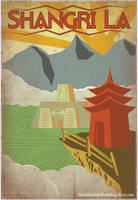 Retro Shangri La Travel Poster by IndelibleInkWorkshop