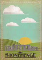 Retro Stonehenge Travel Poster by IndelibleInkWorkshop