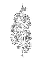 Skulls and Roses Lineart by MaxFeathers