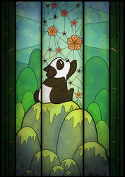 Glass Stained Panda Window by MaxFeathers