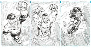 Invincible, Omni-Man and Oliver (Triple spread) by FreddieEWilliamsii