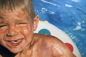 Child in Pool by Andrewnewtonart