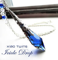 SOLD - Swarovski Sapphire Icicle Crystal Necklace by crystaland