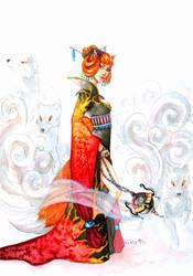 Commission: Kitsune Emina by kiko-burza