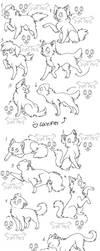 12canines,felines free lineart by zcherozrodesidz