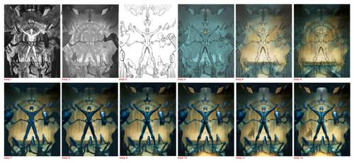 Mega Man UDON process by DrawJinDraw-jinhan