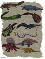 Tiktaalik and Ancient Amphibians by HellraptorStudios