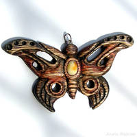 Butterfly hand carved pendant 1475 by AmberSculpture