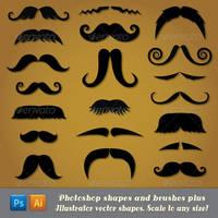 Moustache Potoshop Shapes and Brushes by Jeremychild