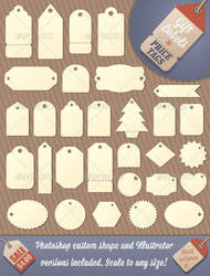 Gift Tag and Price Label Shapes Photoshop and Ai by Jeremychild