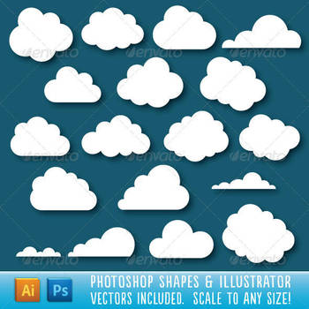 Cloud Shapes for Photoshop and Illustrator by Jeremychild