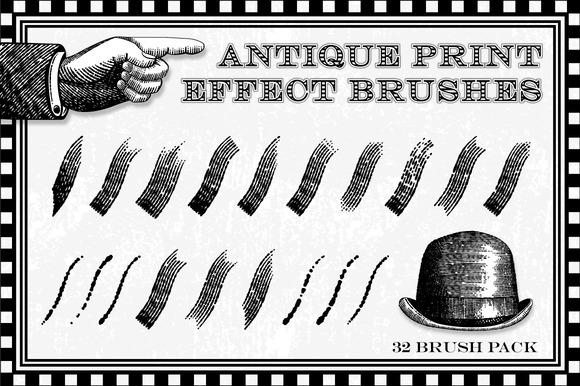 Antique Print Effect Brushes for Illustrator by Jeremychild