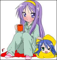 Kagami and Konata by SaberM