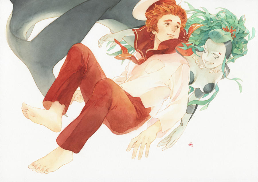 Sailor and Mermaid by chernotrav