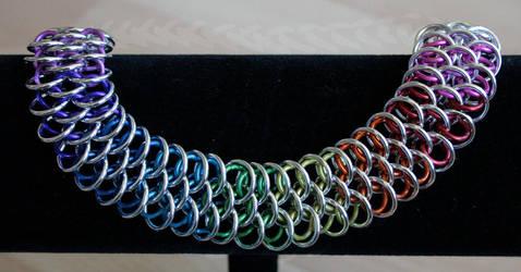 Rainbow and Silver 'thin' Dragonscale Bracelet - F by Ichi-Black