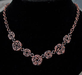 Antiqued Copper Maillestrom Necklace by Ichi-Black