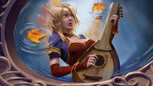 Blood Elf bard by the fountain by quvi
