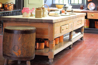 Old Kitchen Table and Round Rustic Butchers Block by Vincent-Malcolm