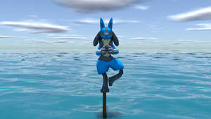 Lucario balancing on a pole by kuby64