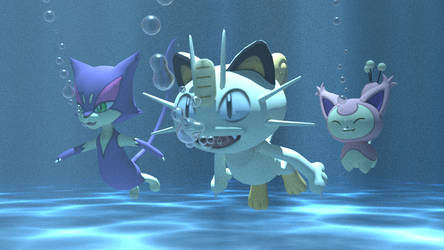 Purrloin, Meowth and Skitty underwater by kuby64