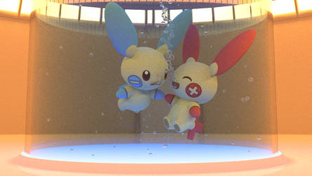 Pluset and Mino in an UW tube by kuby64