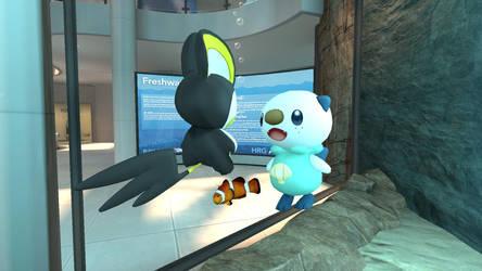 Emolga and Oshawott in the aquarium (view 2/4) by kuby64