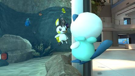 Emolga and Oshawott in the aquarium (view 3/4) by kuby64