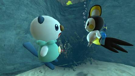 Emolga and Oshawott in the aquarium (view 4/4) by kuby64