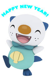 Happy New Year from Oshawott! - 3D version by kuby64