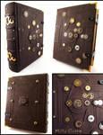 Big Steampunk Leather Book by MilleCuirs
