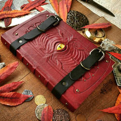 Dark Red Leather Grimoire by MilleCuirs
