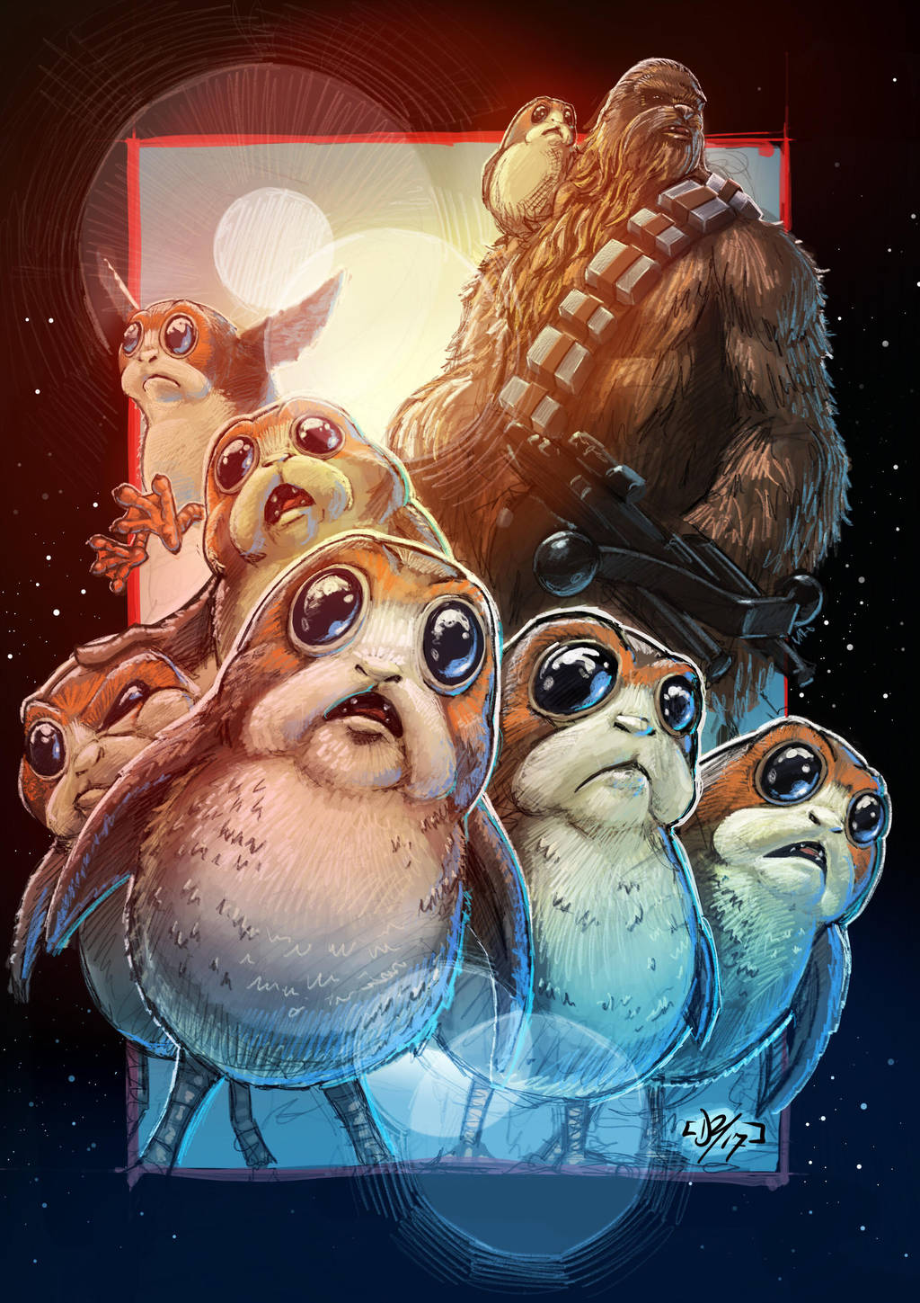 Chewie and the Porgs by DazTibbles
