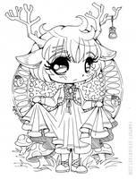 Little Deer Chibi ::Open Lineart:: by YamPuff