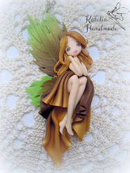 Polymer Clay OOAK Leaf fairy by KatalinHandmade