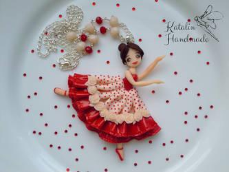 Polymer clay chibi ballerina doll by KatalinHandmade