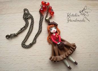 Retro girl polymer clay ooak doll by KatalinHandmade