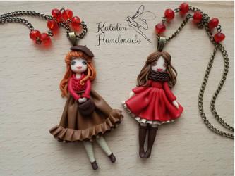 Polymer clay fimo autumn ooak doll kawaii chibi by KatalinHandmade