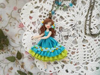 polymerclay fimo chibi ooak doll little girl by KatalinHandmade