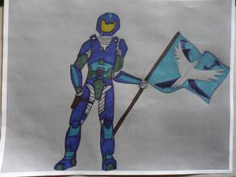 Red Vs Blue: Blue Flag Colored by NatefanA98