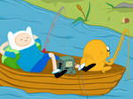 Fishing time with Finn, Bmo and Jake by SpookyDonuts