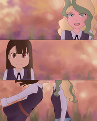 Akko x Diana Sunset Kiss [Little Witch Academia] by TsunNekoTsumiki