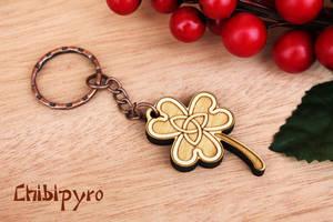 wooden keychain clover by ChibiPyro